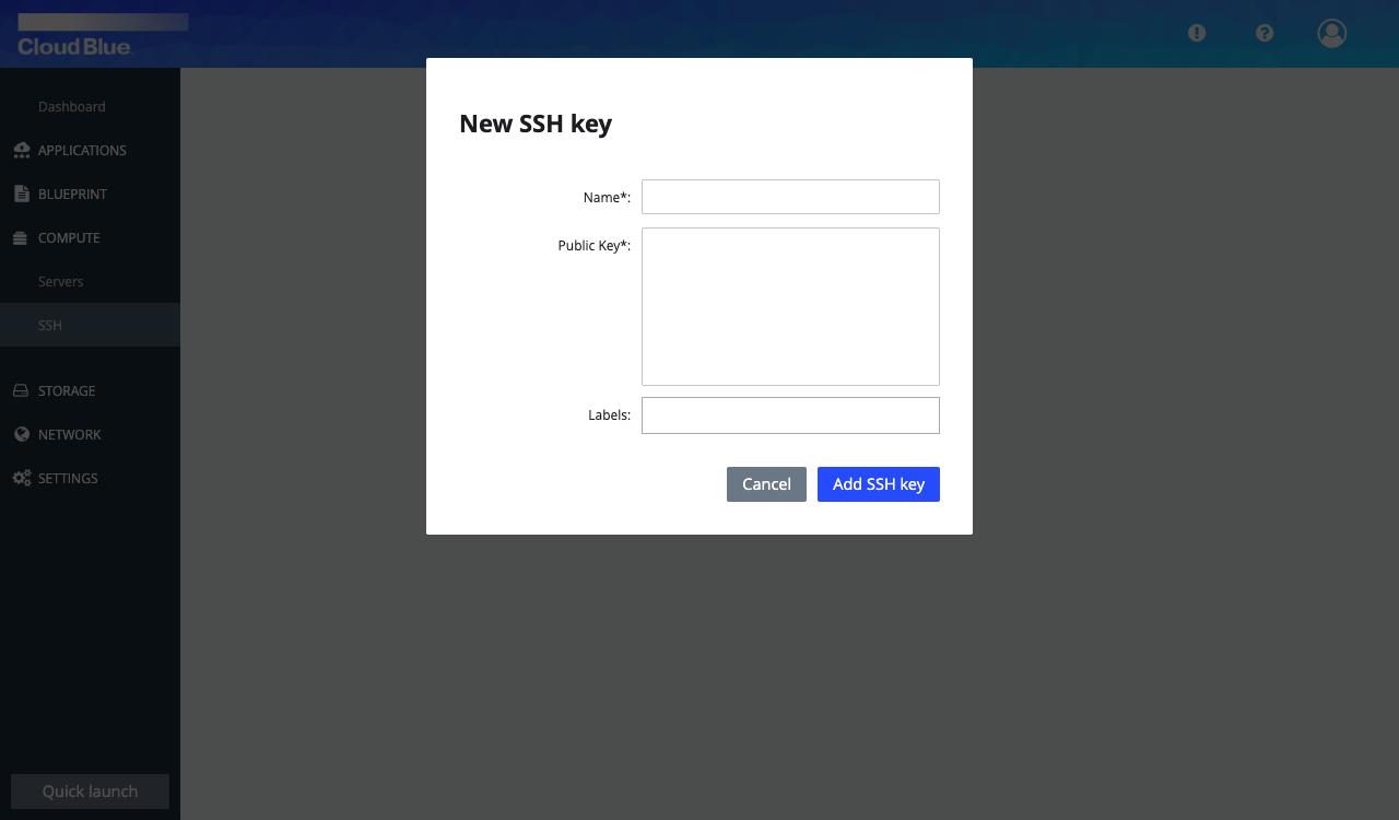 SSH key form
