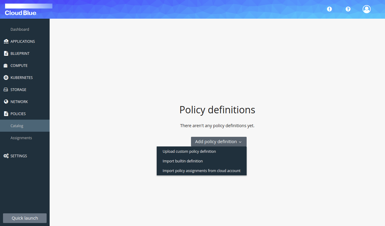 Policy import options