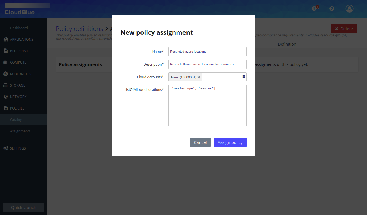 Policy assignment dialog