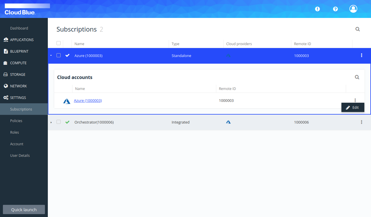 Edit option for the subscription or cloud account