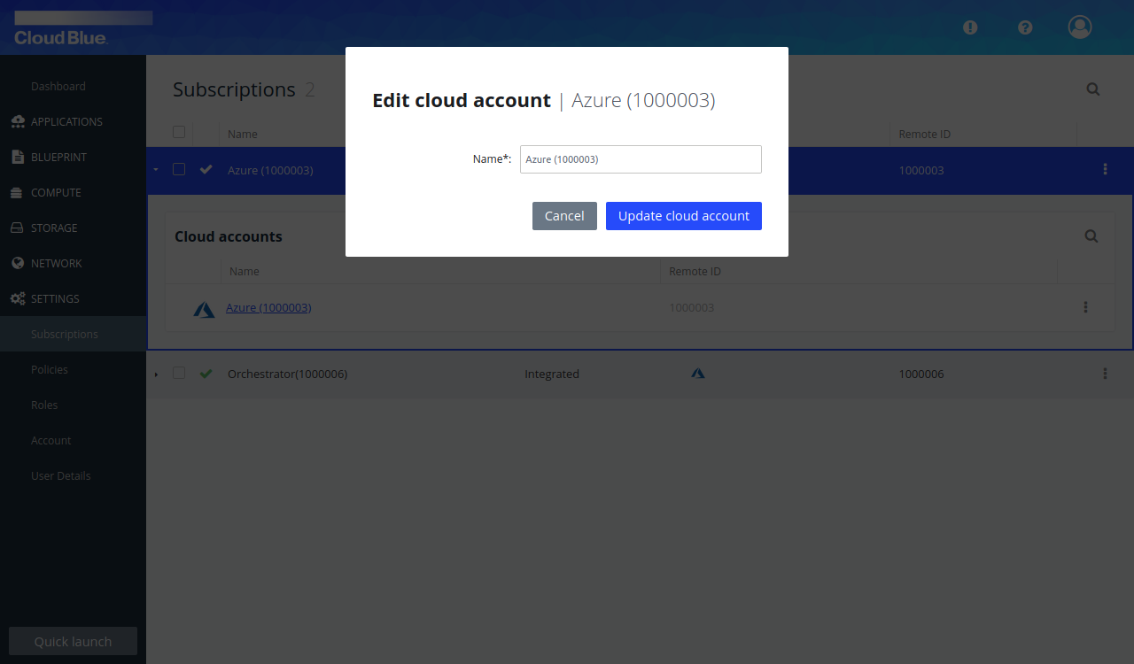 Edit popup for the subscription or cloud account