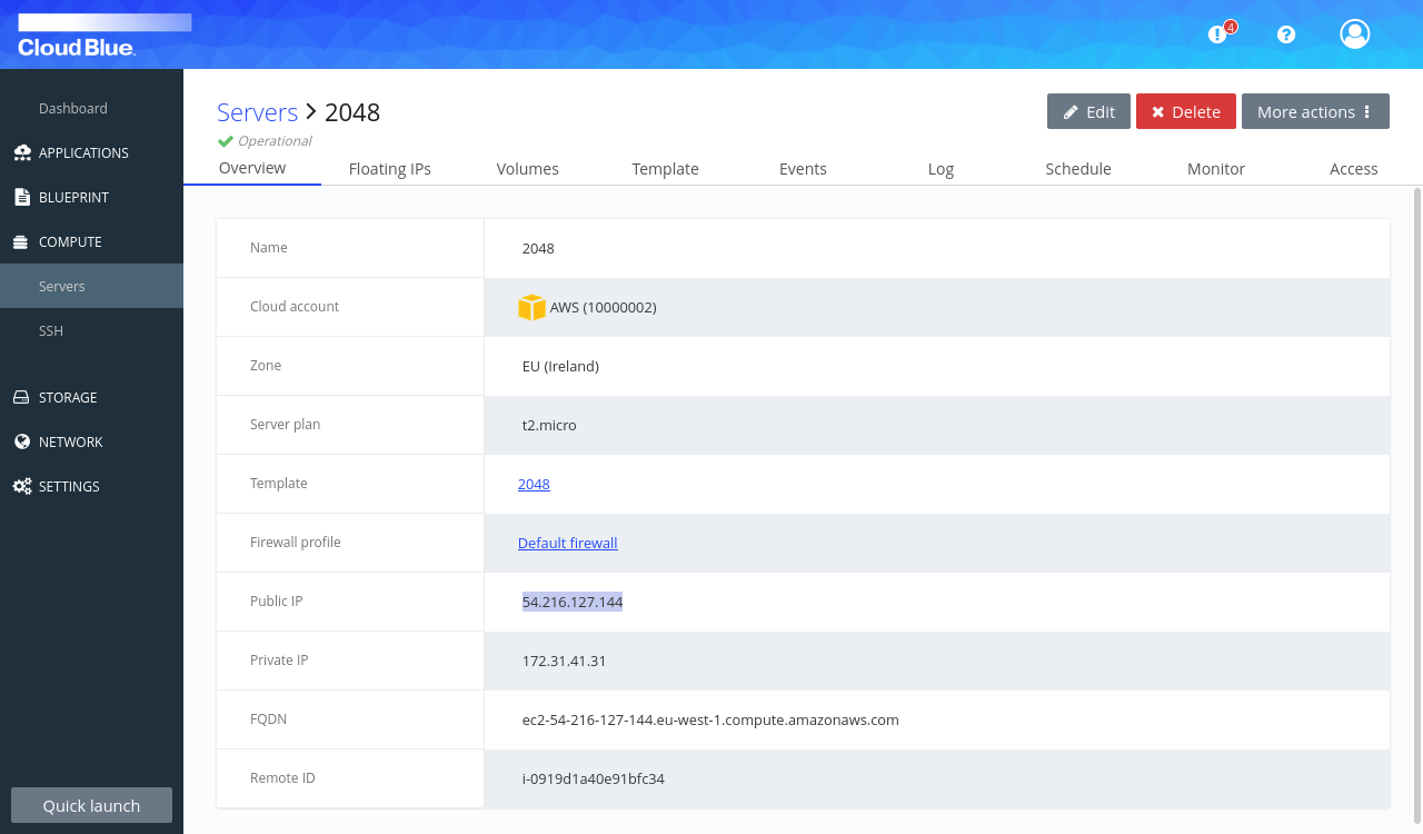 Overview tab of operational server