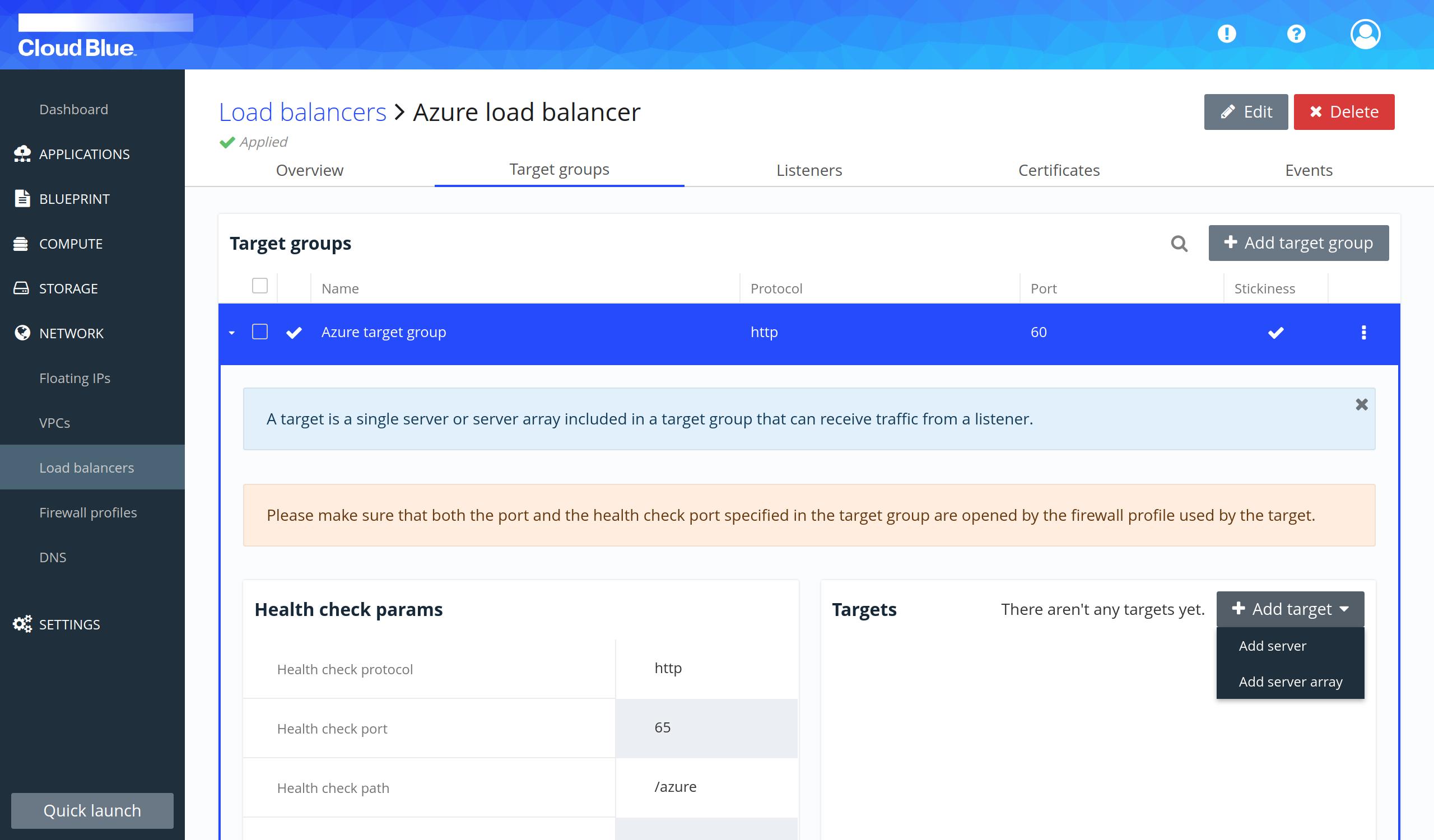 Server array creation select