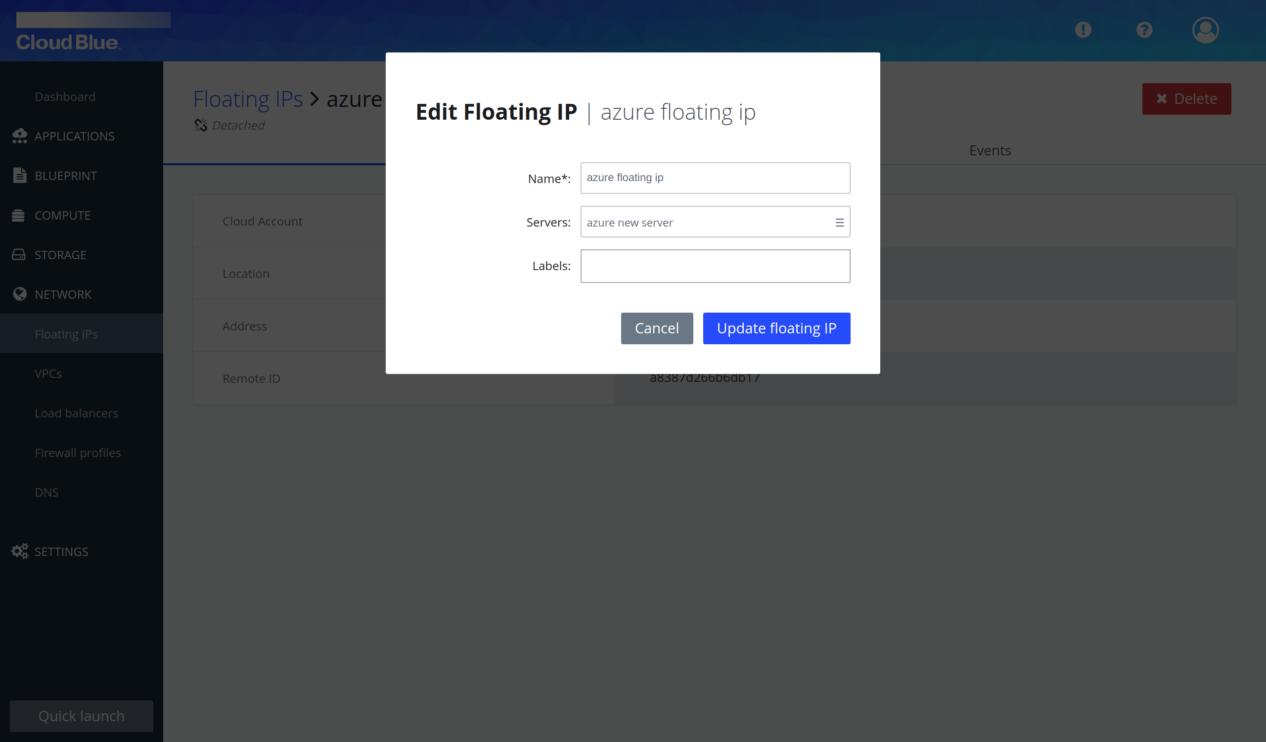 Floating IP edition pop-up