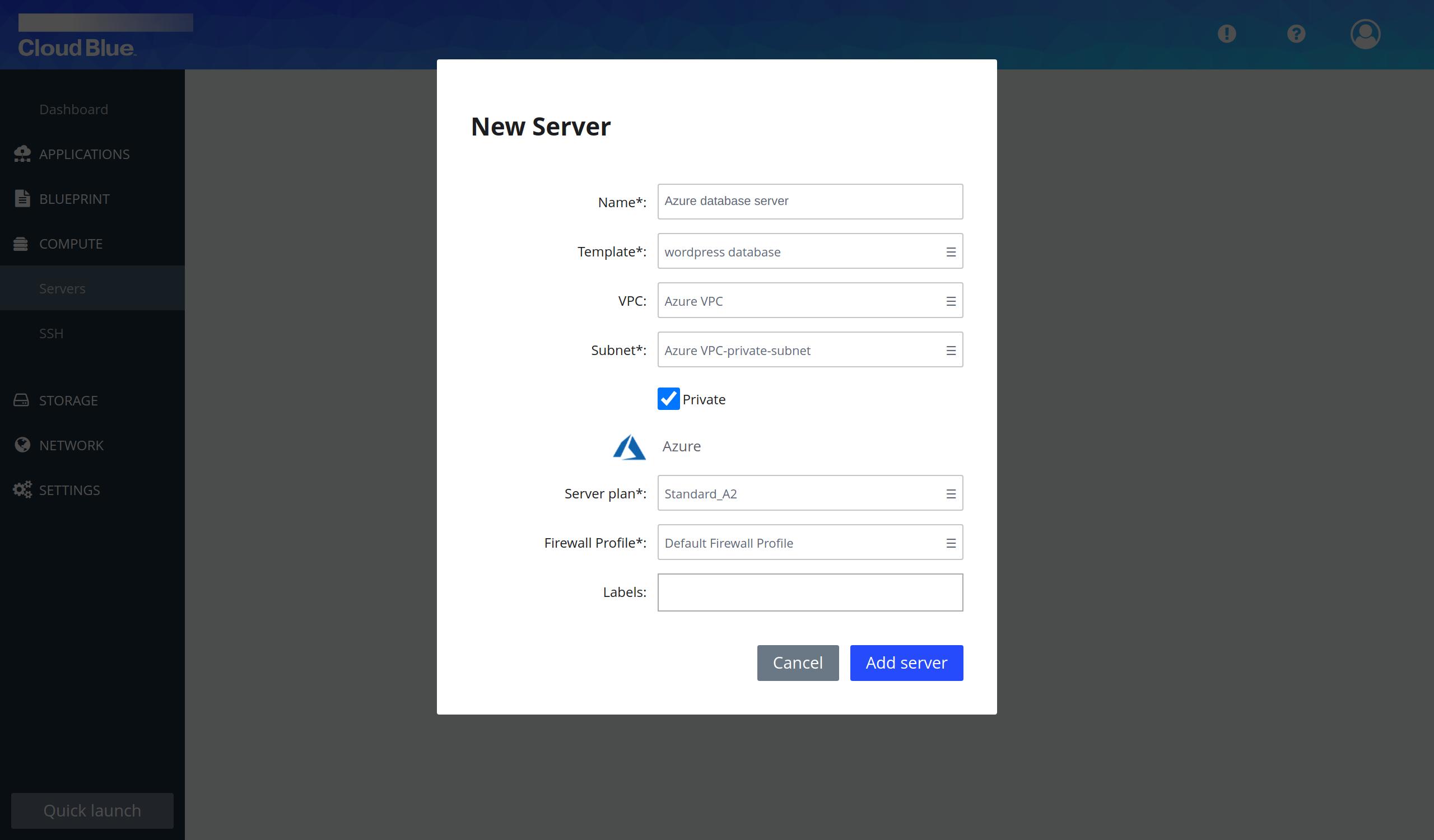 Database server creation pop-up