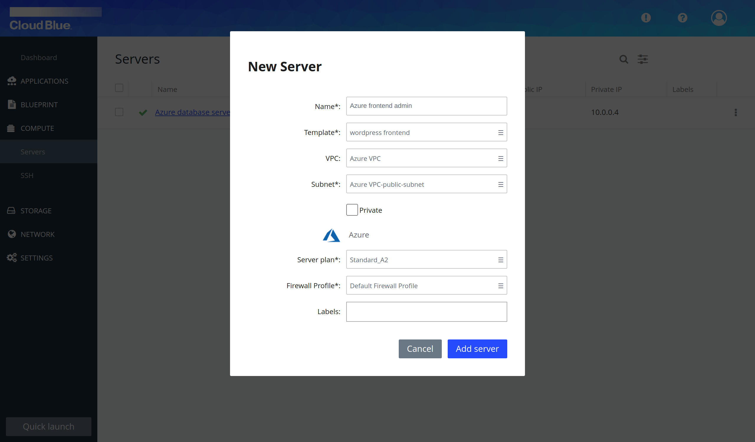 Frontend servers creation pop-up