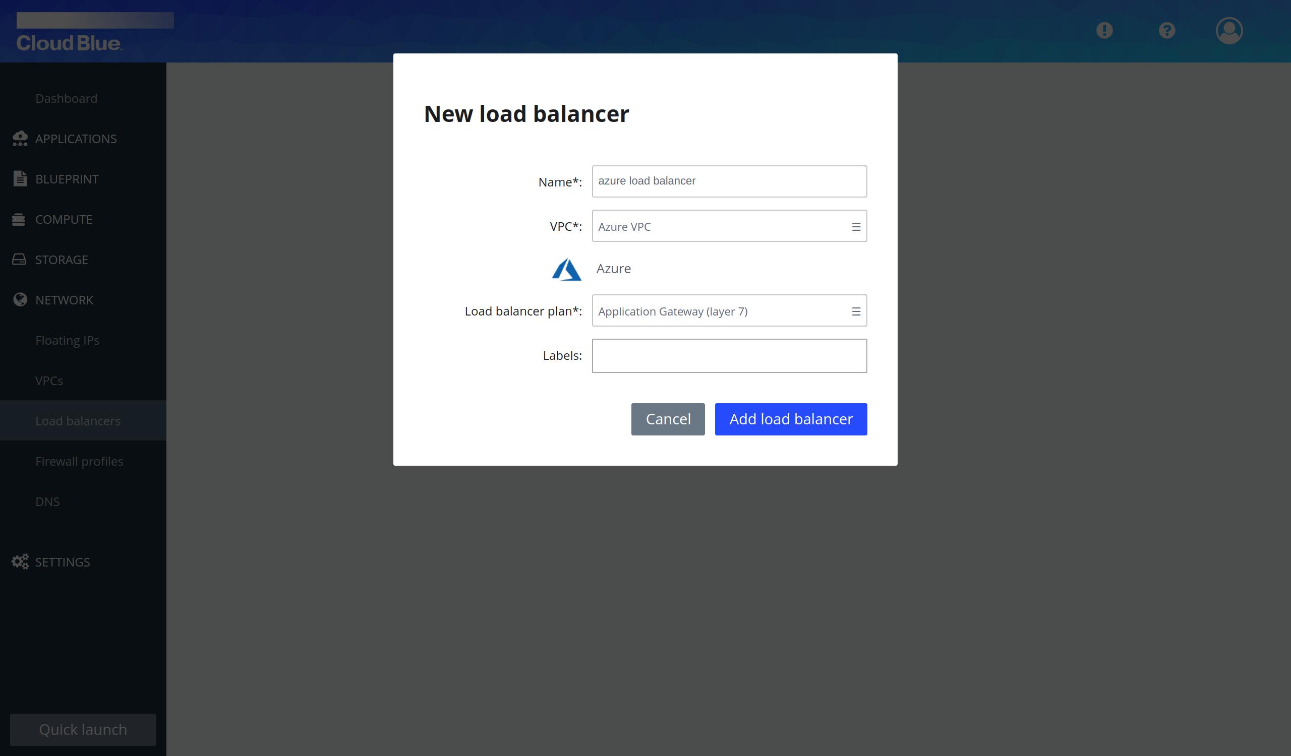 Load balancer creation pop-up