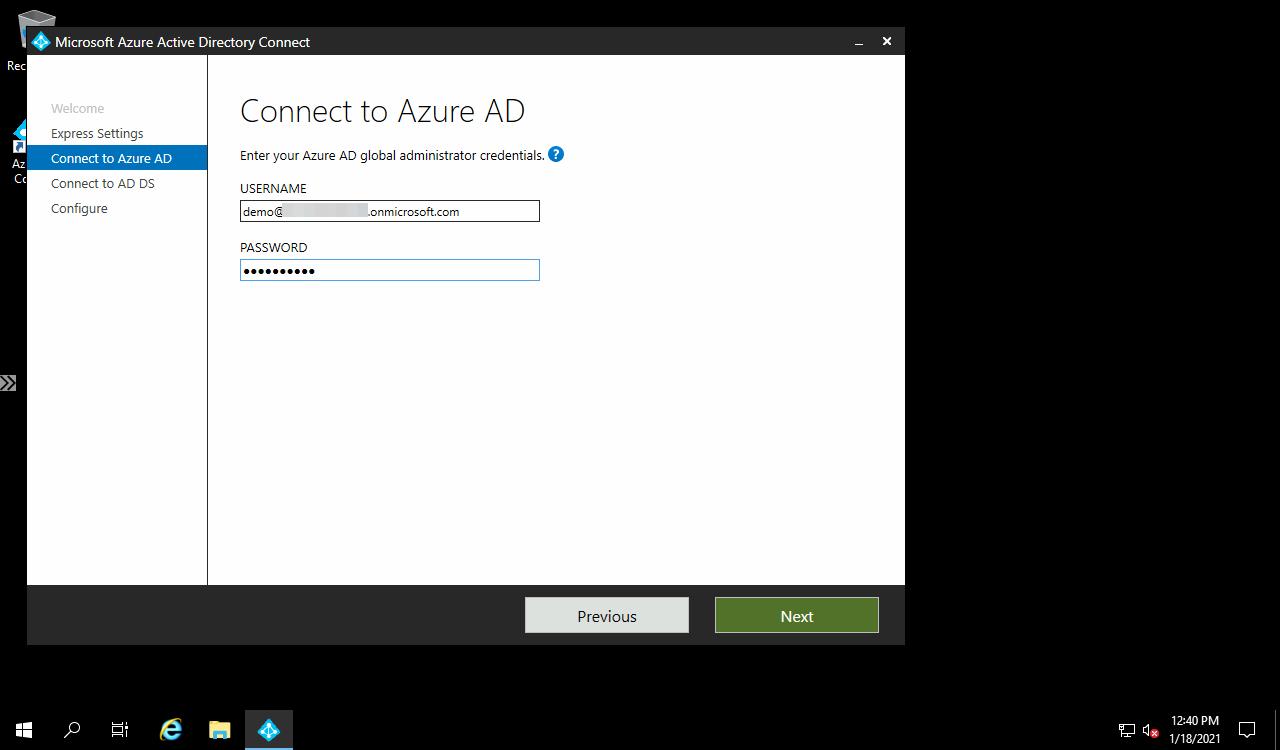 AD Connect Azure AD credentials