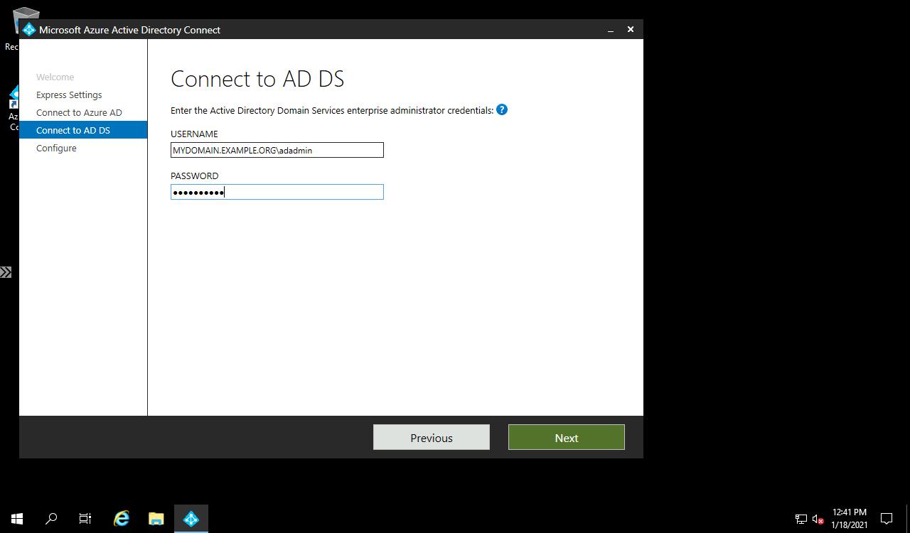 AD Connect local AD credentials