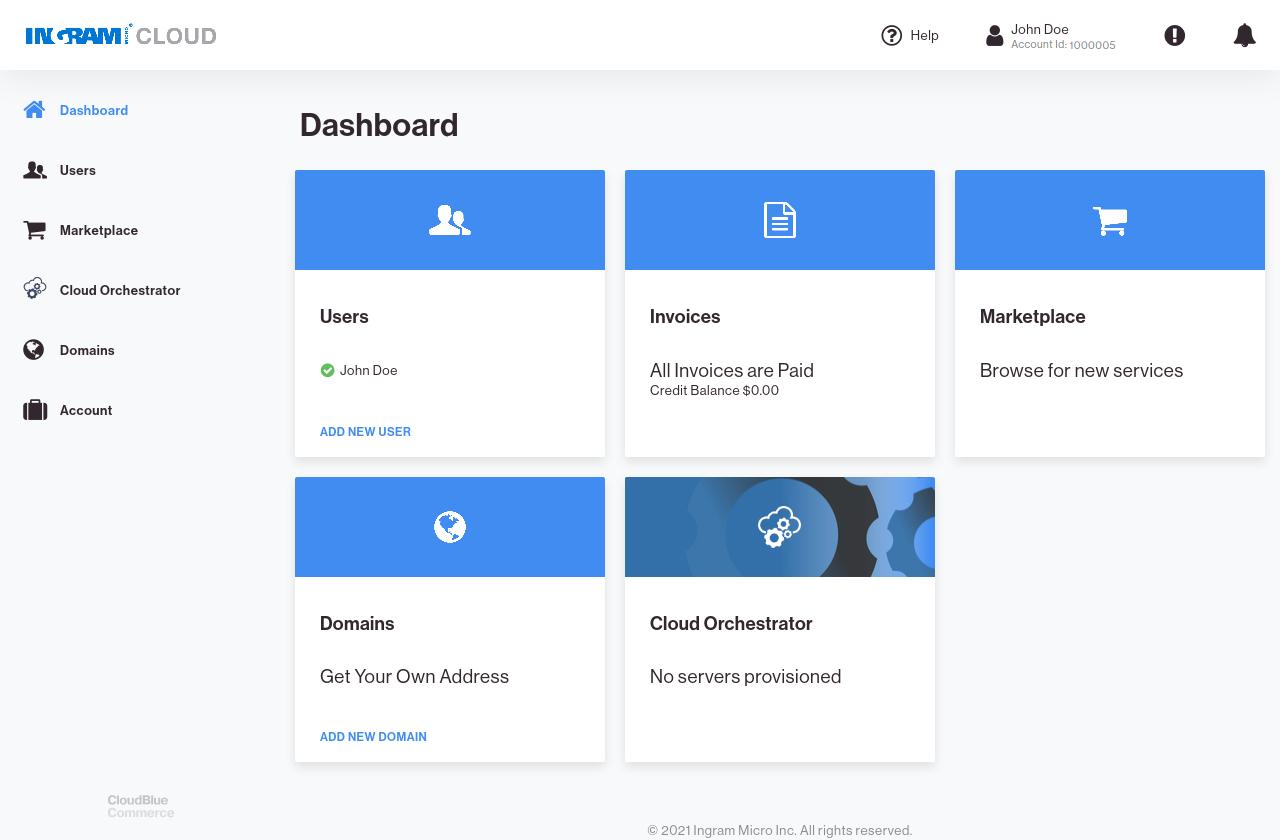CloudBlue Commerce APS Dashboard