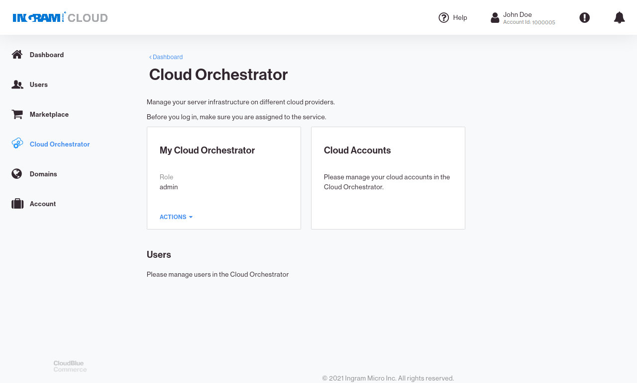 CloudBlue Commerce APS Role Assigned