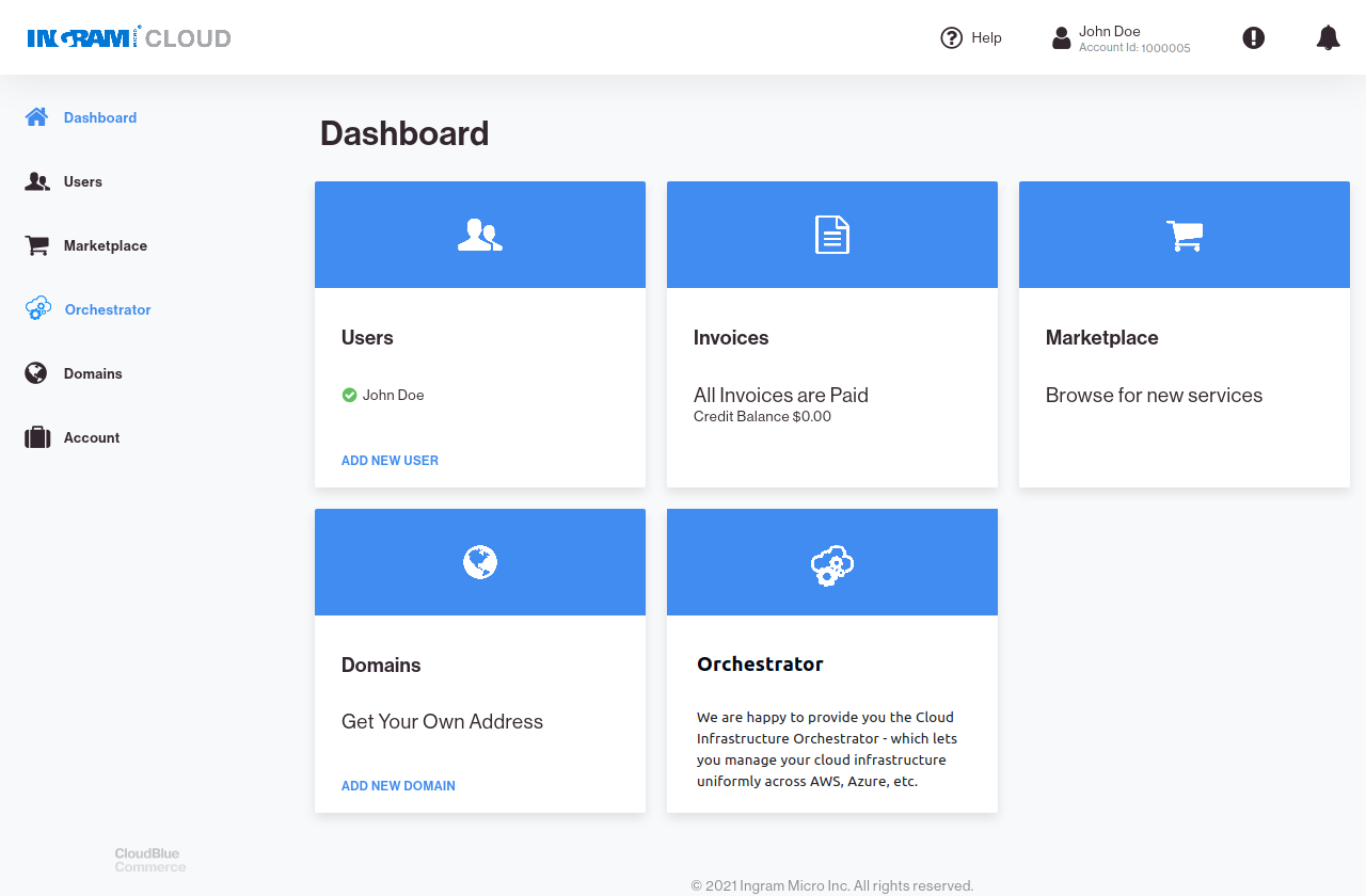 CloudBlue Commerce Connect Dashboard