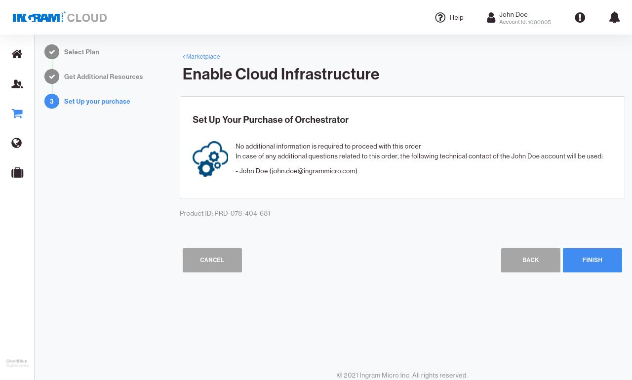 CloudBlue Commerce Marketplace Connect Confirm