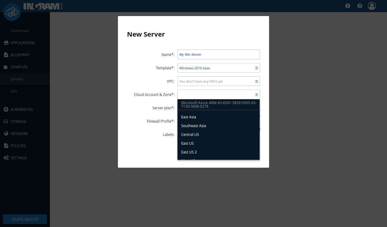 """Example of """"Cloud Account & Zone"""" selection"""