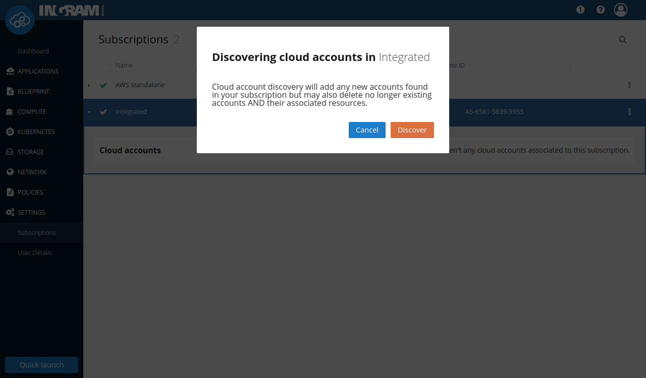"""""""Discover cloud accounts"""" popup for the subscription"""