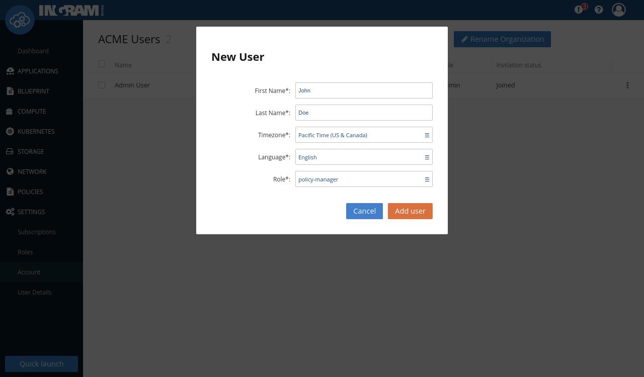 Create a new user dialog
