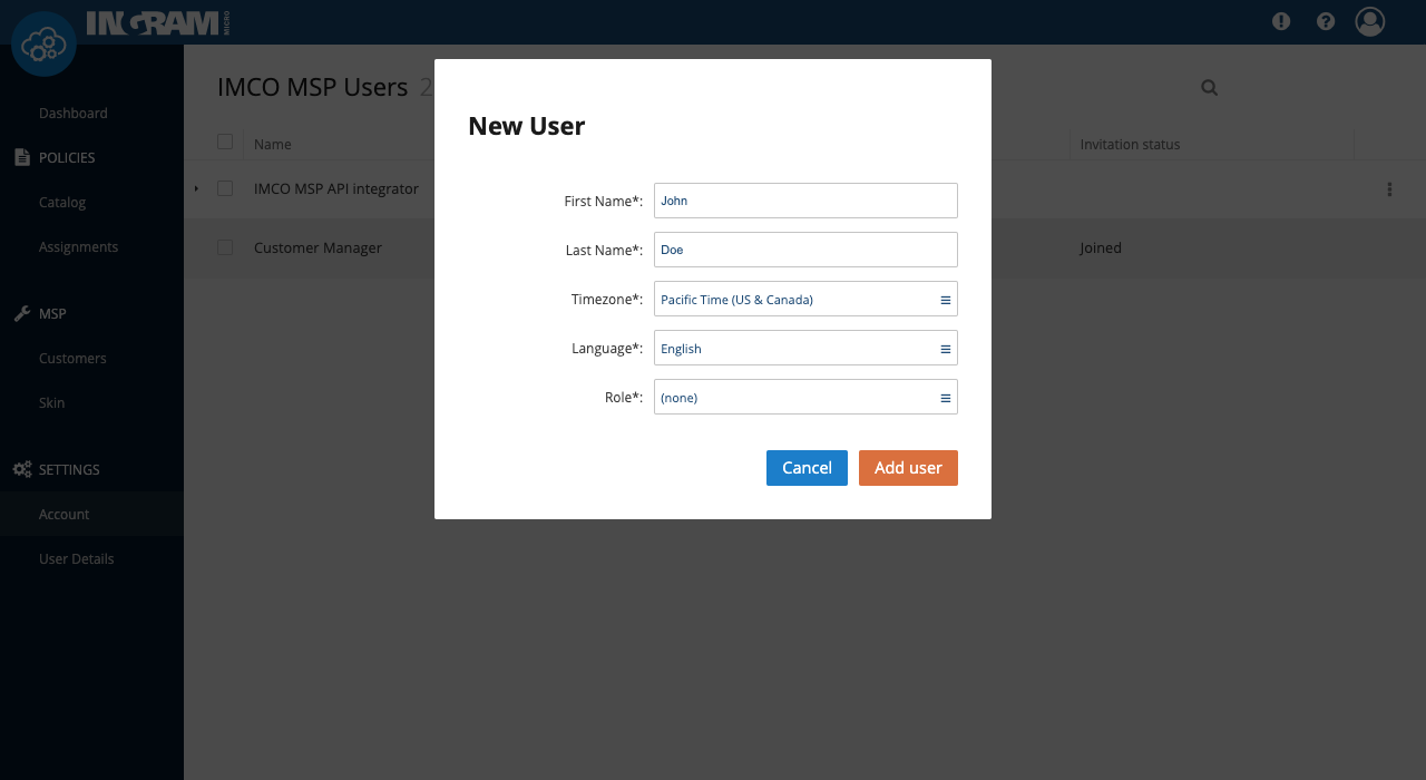 New user form