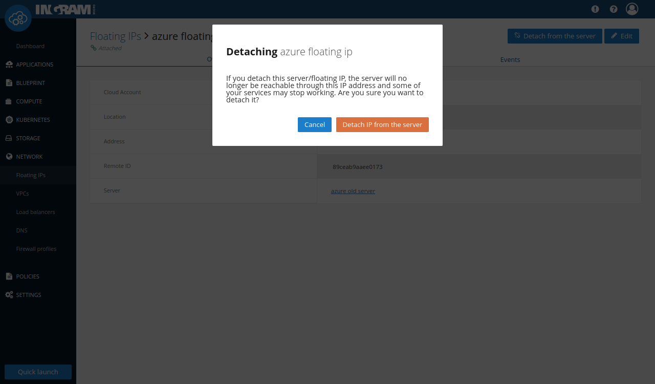 Floating IP detach pop-up