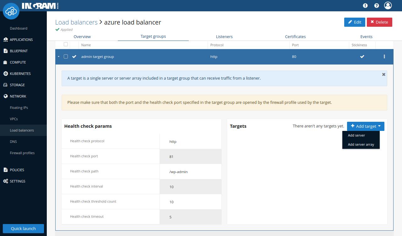 Server creation select