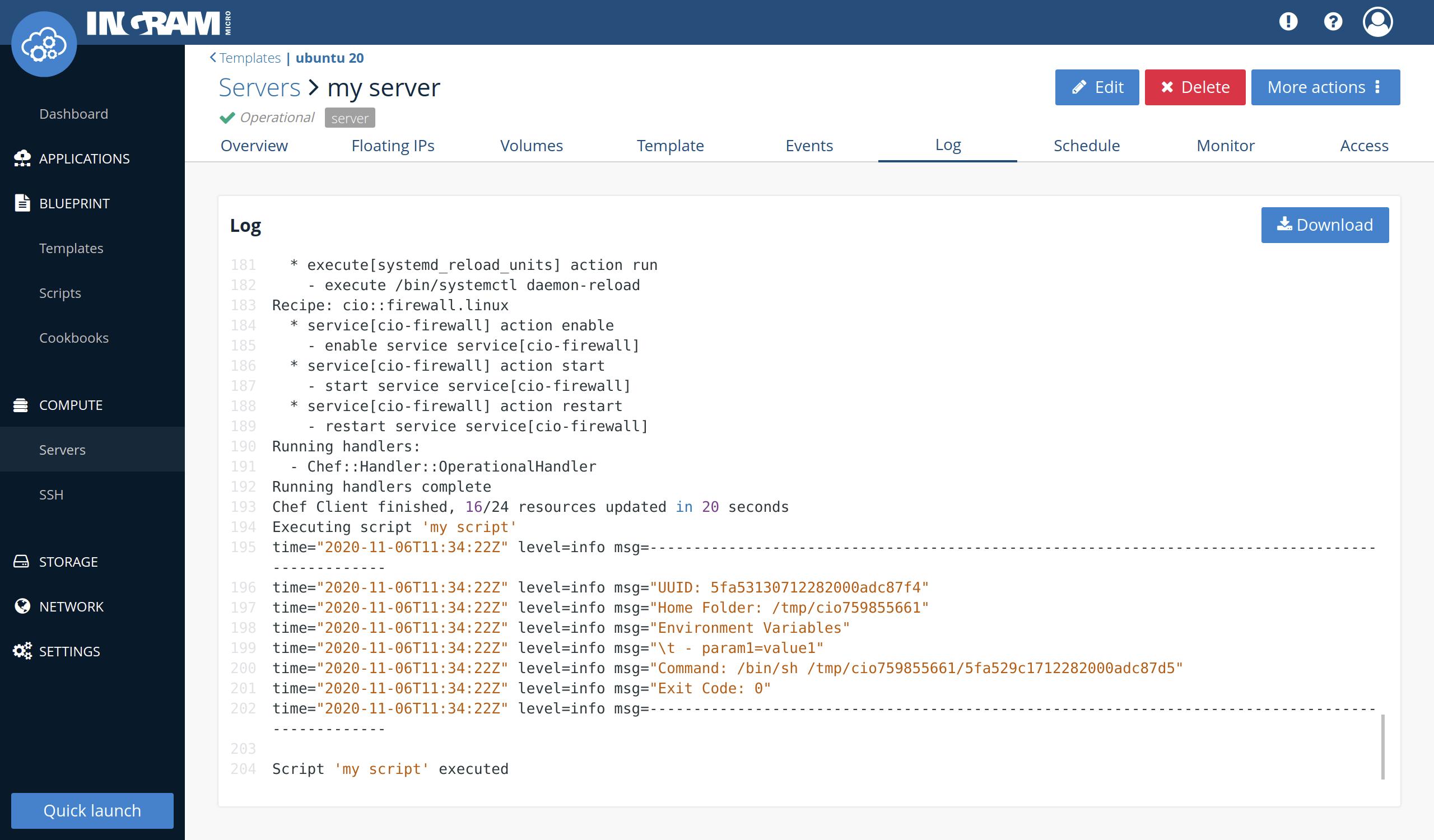 Template server operational script run