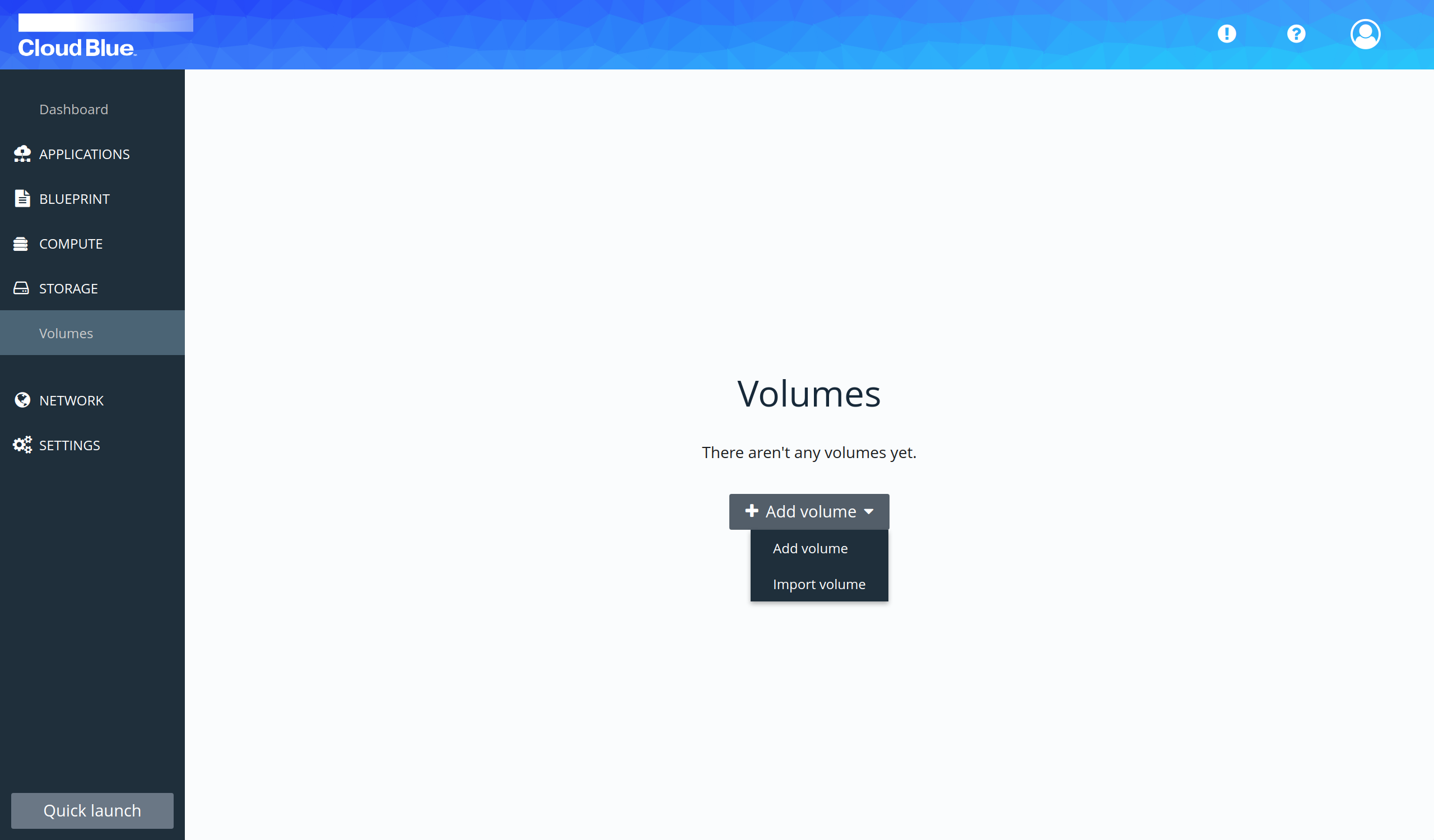 Volumes creation select