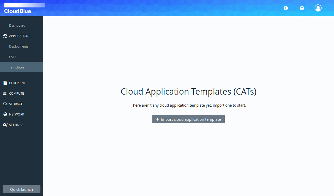 Templates screen before first CAT