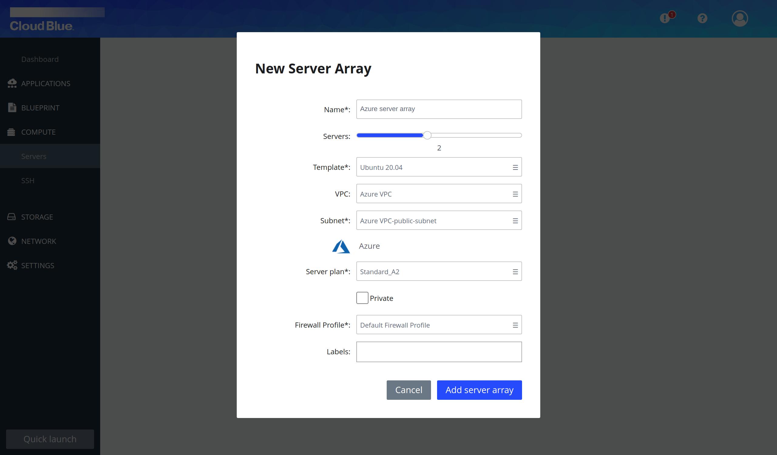 Server arrays creation pop-up