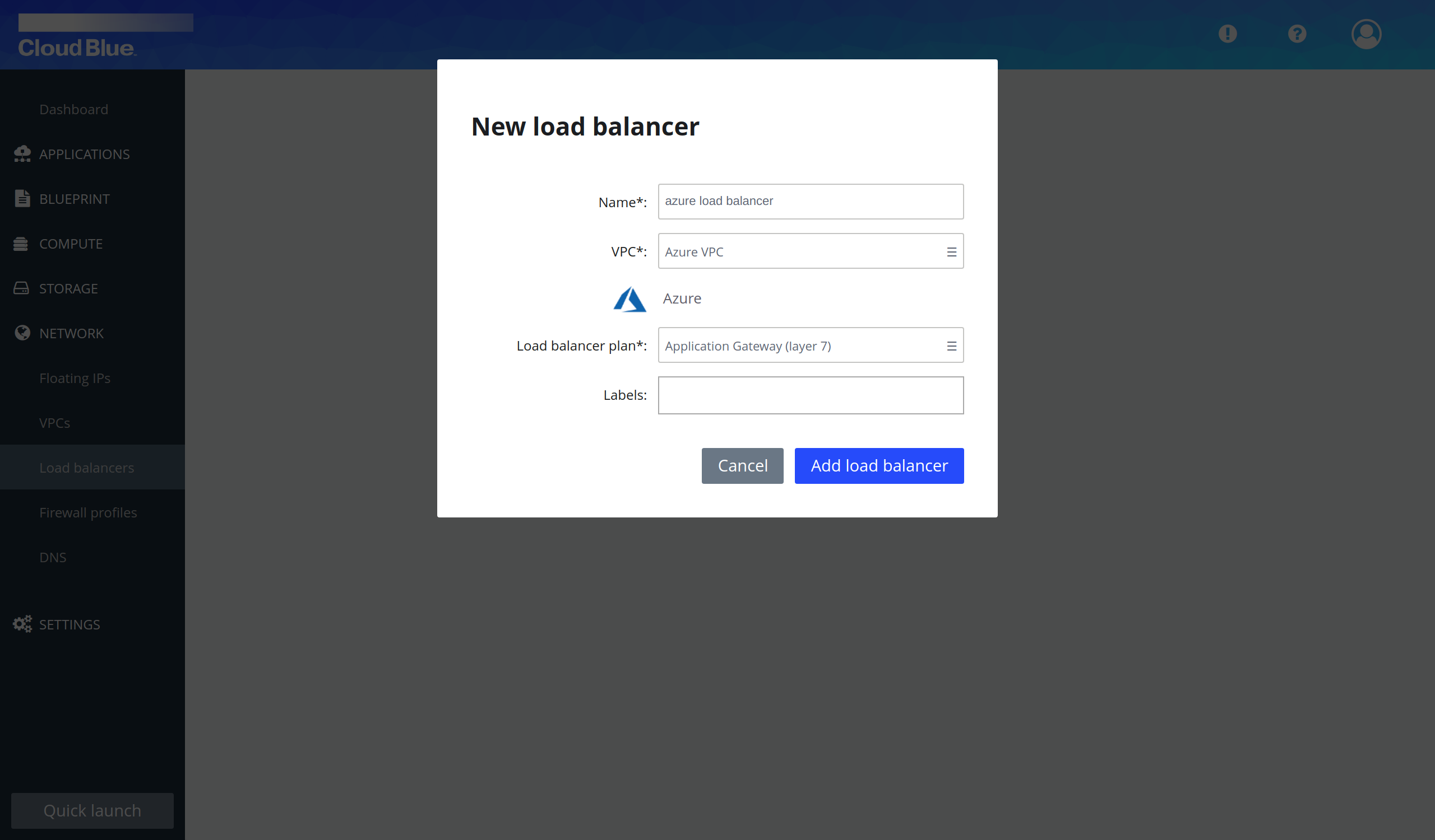 Load balancer creation pop-up