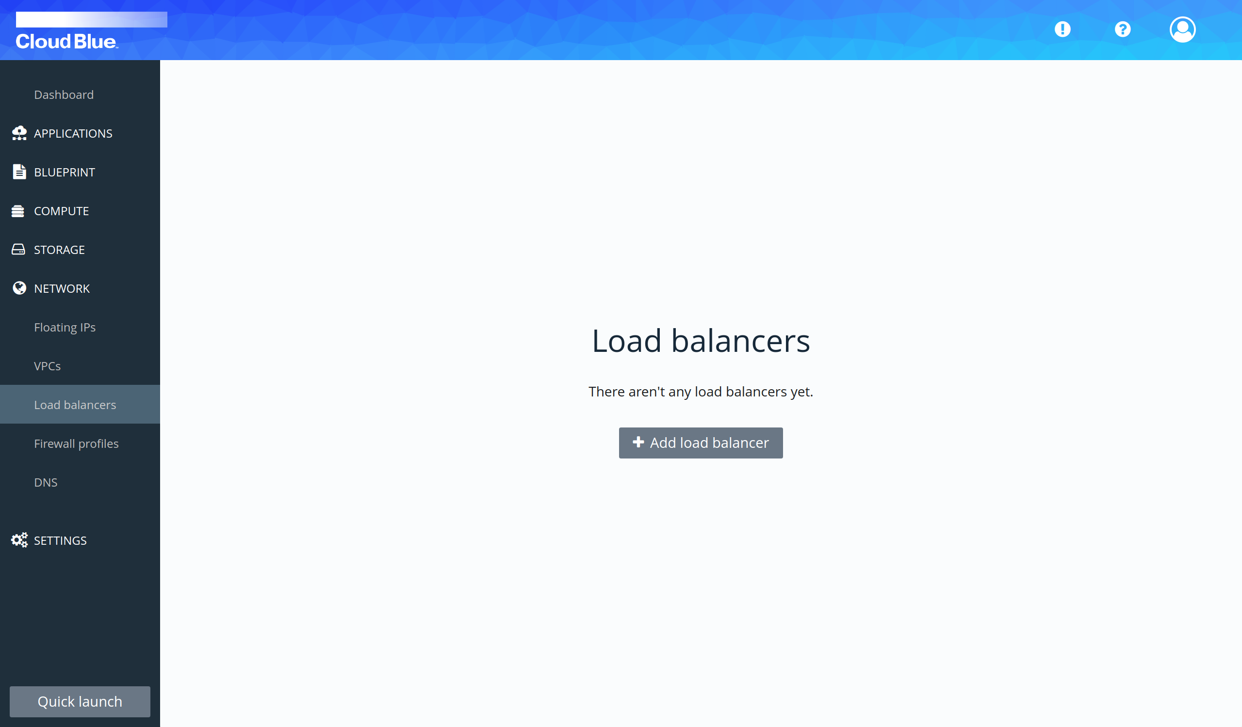 Load balancers section
